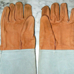 A-Best~Light Brown&GreyLeatherMotorcycle Gauntlet
